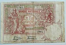 20 Francs 1911 20 Frank 1911 Billet Belgique Belgïe Belgium Banknote 19-10-1911