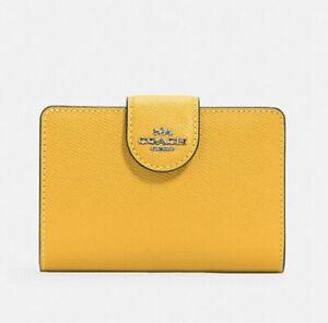 Coach 6390 Medium Corner Zip Wallet Clutch Crossgrain Leather NEW Antique Yellow