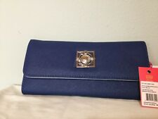 NEW Catherine Malandrino Trifold Wallet- Midnight Blue Silver Inside