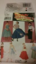 "Halloween ""50's wear""SIMPLICITY - Costumes on Stage #8742 size D Misses 4,6,8"