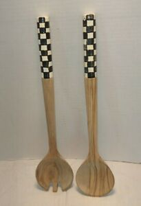 MacKenzie-Childs Courtly Checkered Salad Serving Set Fork Spoon Olivewood