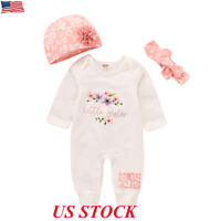 3PCS Newborn Baby Boy Girl Floral Clothes Jumpsuit Romper Bodysuit+Headband+Hat