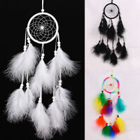 AU_ CW_ CO_ FT- Indian Handmade Dream Catcher with Feathers Wall Hanging Craft O