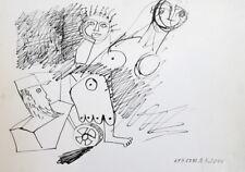 1992 - INK DRAWING CUBIST SURREALIST FUTURIST FIGURES SIGNED