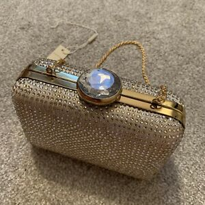Monsoon Embellished Diamante Sparkly Box Clutch Bag Champagne Gold Silver Jewel