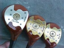 Solid PERSIMMON Spalding Refinish Wood Set Golf Clubs Driver 3 5 New Tour Grips