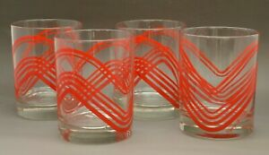(SET OF 4) MCM Vintage Georges Briard Red Geometric Heart Old Fashioned Glasses