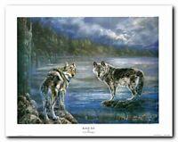 Grey Wolf Native American Black Sea Wall Decor Art Print Poster (22x28)