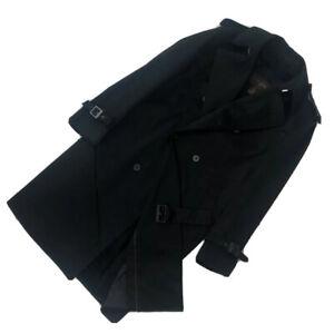 Louis Vuitton Mens Black DAMIER Wool Mix Long Suit Trench Coat Size M L IT 48 50
