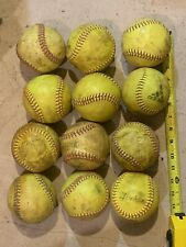 Used Lot of Miscellaneous Practice Softballs, Yellow, 12 total Balls