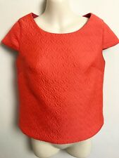 FAB KOOKAI ORANGE QUILTED PATTERN CAP SLEEVE BOXY TUNIC TOP SZ 34 (6)
