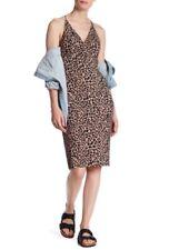 NWT Topshop Animal Print Dress Plunge V Neck Midi Sheath 2 XS Sexy Party Date