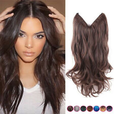 Human Hair Extensions halo One Piece Invisible Wire Wavy 100% Human Hair 80g