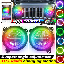 "9"" Bluetooth RGB Halo Ring Angel Eye LED Headlights for Jeep Wrangler JL 18-2019"