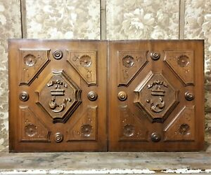 2 Flower rosette diamond wood carving panel Antique french architectural salvage