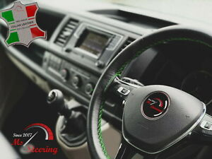 FOR JEEP WRANGLER 11-16 BLACK LEATHER STEERING WHEEL COVER   GREEN STITCH