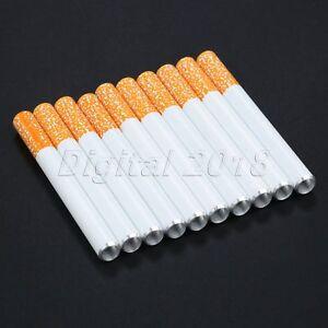 10Pcs Cigarette Shape Tobacco Pipe Portable Hand Metal Smoking Pipes 78MM