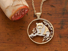 "Panda Bear Pendant &Necklace.Chinese Coin  Hand cut. 1-1/4"" diameter ( # 812 )"