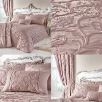 BENTLEY Traditional Jacquard Duvet Cover/Quilt Cover Set Bedding Pink Blush