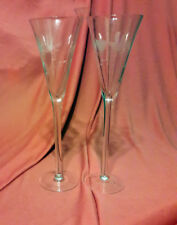 TOASTING FLUTES / GLASSES - Vintage - Etched Glass - Hearts & Doves - New