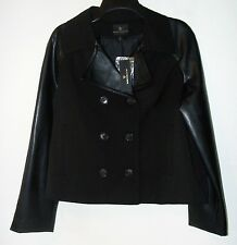 WORTHINGTON BLACK CROPPED TRENCH JACKET FAUX LEATHER SLEEVE MSRP $80 Sz L NWT