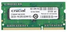 Crucial 2gb 204 Pin so DIMM Ddr3 Memory