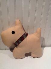 Handmade Scottie Dog Pillow Scottish Terrier 11x10 Inches Plaid Neck Ribbon