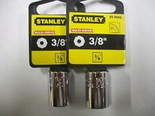 NEW STANLEY 3/8 in Drive  3/8 INCH  MAX DRIVE  8 POINT SOCKETS  TWO SOCKETS