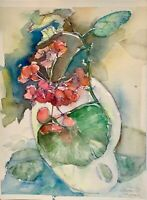 ORIGINAL Watercolor painting on paper artwork from artist signed flowers