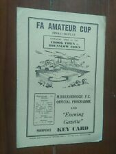 More details for crook town v hounslow town1962 .(fa amateur cup)final-replay. at middlesborough.