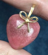14K Red Coral Carved Heart Pendant. Strawberry w Gold Bow. 1 Inch. 4.3 g--K2L9
