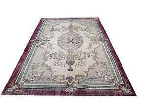 "8'8""x5'1""  aqua cream burghandy green oushak vintage rug carpet tapis teppich"