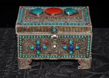 """6""""Tibet Silver Filigree Inlay Turquoise coral dynasty Jewelry Storage box boxes"""