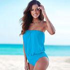 Women's Bikini Bandeau Swimwear Bandage One-piece Monokini Swimsuit Bathing Suit