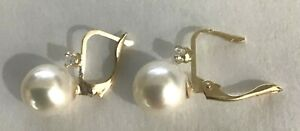 New 14k Gold 9mm Pearl w/ Dia  Euroback Earrings-Free Shipping!