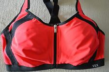 Victoria's Secret sports bra VSX The knockout front zip close 36C red reflectiv