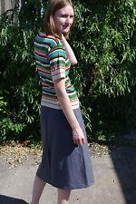 Damen Rock grau langer Faltenrock 80er skirt Gr. 38 True VINTAGE 80s woman grey