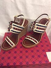 TORY BURCH HUARACHE WEDGE SANDAL 21158535 IVORY/TORY NAVY/INDIAN RED/NEPTUNE