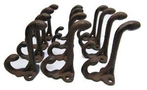 Lot 12 Antique-Style Rustic Brown Double School Coat Hooks Cast Iron Hardware