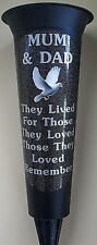 MUM & DAD Memorial Flower Vase Black Dove In Loving Memory Grave Spike Graveside