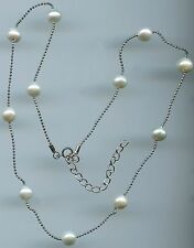 "16"" TO 18"" LONG 925 STERLING SILVER, FRESHWATER PEARL BY THE YARD NECKLACE"