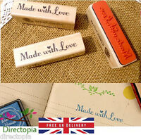 Made With Love Wooden Rubber Stamp Craft Scrapbook Handmade Tags Gifts