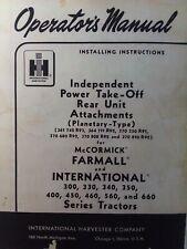 Farmall International Pto 300 350 450 400 660 Farm Tractor Installation Manual