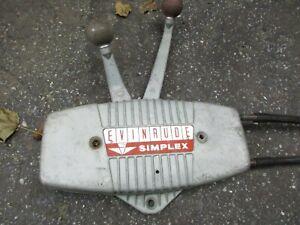 EVINRUDE SIMPLEX OUTBOARD MOTOR CONTROL BOX W/ CABLES JOHNSON 2 HANDLE