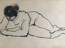 NUDE INK DRAWING IMPRESSIONIST ANTHONY VLAHAKIS  Mid Cent Modern Paris France 51