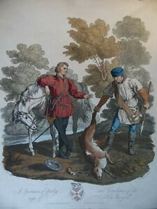 Portrait A Sportsman of Quality + Gamekeeper Henry Vth. 1812 Aquatint by Havell