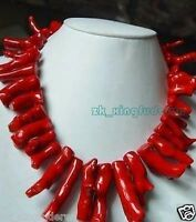 Beautiful new style women's party jewelry red coral Branches necklace long 18""
