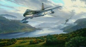 RAF Hawker F6 Hunters of 66 Squadron flying over the Lake District print, signed