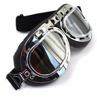 MOTORCYCLE RIDING GOGGLES SILVER FRAME TINTED LENS HARLEY BOBBER CAFE RACER XVS