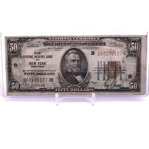* 1929 $50 Federal Reserve Bank of New York, New York Brown Seal Note H5